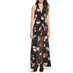Women's Band Of Gypsies Floral Halter Romper ($85) ❤ liked on Polyvore featuring jumpsuits, rompers, floral romper, halter-neck tops, floral rompers, overlay romper and halter rompers