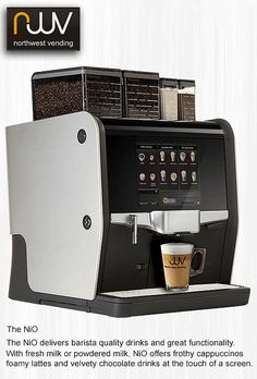 NIO, the stylish and functional super automatic coffee machine, adequate words to describe this very versatile machine. One or two types of fresh bean coffee, one or two grinders, add chocolate and powdered milk options or a four litre fresh milk fridge. Automatic Espresso Machine, Espresso Coffee Machine, Coffee Maker, Coffee Type, Coffee Is Life, Kitchen Definition, Coffee Machine Design, Coffee Vending Machines, Coffee Machines
