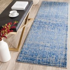 Entry Hall Rug - Safavieh Adirondack Modern Abstract Blue/ Silver Rug (2'6 x 8') | Overstock.com Shopping - The Best Deals on Runner Rugs