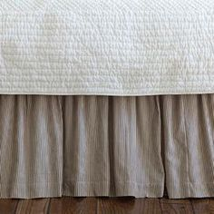 """Create an inviting farmhouse-inspired retreat in your guest room or well-appointed master suite with this sumptuous bedding, inspiring Sunday morning sleep-ins and indulgent afternoon naps.        Product: Bed skirt    Construction Material: 100% Cotton    Color: Dark brown and cream   Features: Fine-woven pinstripes      Dimensions:   Twin:  39""""  x 75""""  x18""""  Queen: 60""""  x 80""""  x 18""""   King: 72"""" x 84"""" x 18""""         Cleaning and Care: Machine washable  …"""