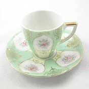 Ugacgo Mint Green Floral Demitasse Tea Cup and Saucer.