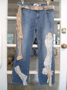Size 12 Short Upcycled Denim Blue Jeans with Lace Belt for the hippie boho beach surfer style redesigned repurposed cowgirl glam Lace by LandofBridget