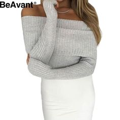 BeAvant Off shoulder knitted sweater women 2016 Winter black oversized  sweaters and pullovers Autumn pink jumper pull femme-in Pullovers from  Women s ... 14247204d