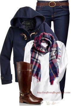 J.crew classic coat, riding boots & scarf