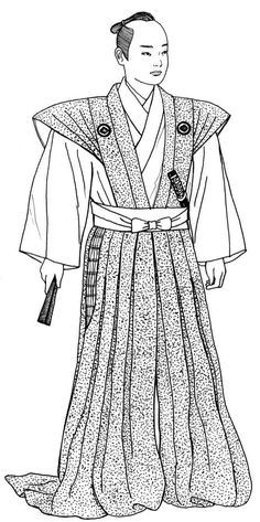 EDO PERIOD: Samurai--wearing ceremonial costume of pleated sleeveless jacket, over-the-feet trousers w/openings at sides, hair style in traditional samurai topknot