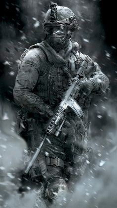 This is an image of a marine soldier in the Call of Duty video game. This is a Black and White image and has been edited to give it a dramatic feel. There is a layer of dust and exploding rubble surrounding the soldier who is holding assault rifle. Call Of Duty Aw, Call Of Duty Black, Video Game Art, Video Games, Advanced Warfare, Modern Warfare, Gaming Memes, Military Art, Special Forces
