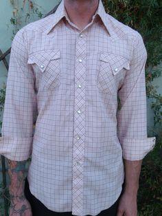 Vintage Men's Snap Down Western Shirt 60's by sailorpinkvintage, $32.00