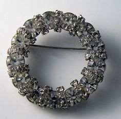 Vintage Signed Joseph Warner Rhinestone Wreath Brooch