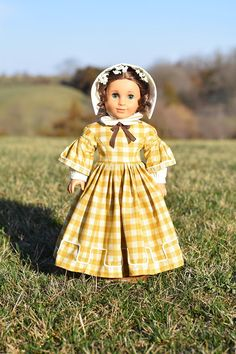 Doll Dress Plaid Civil War Dress & Bonnet for 18''
