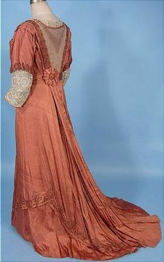 c. 1912  Edwardian Cinnamon Colored Silk Trained Gown