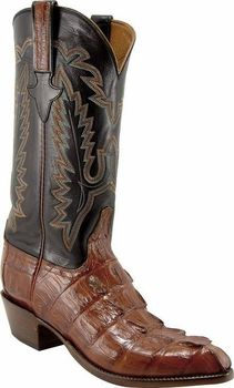 Mens Lucchese Classics Cognac Caiman Crocodile Tail Custom Hand-Made Cowboy Boots L1326