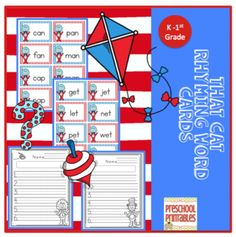 That+Cat+Rhyming+Word+Cards+from+Preschool+Printables+on+TeachersNotebook.com+-++(18+pages)++-+Rhyming+word+cards+easy!