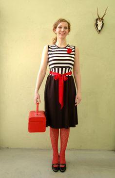 Dress Lili Marlen with blackwhite stripes by jekyllundkleid, $135.00