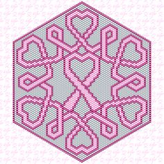 Beaded Pink Ribbon PATTERN for peyote or brick stitch