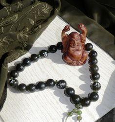 Купить Четки тибетского шамана. - тёмно-зелёный, зеленый, оливковый, нефрит натуральный, четки из камня