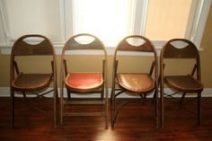Vintage Wood Folding Chairs by ReCirculationDesk on Etsy, $45.00