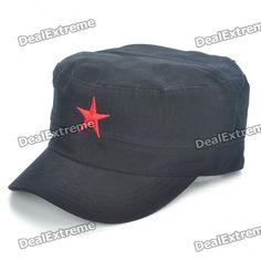 Red Star Pattern Flat Top Cotton Fabric Cap Hat - Black