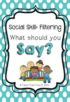 This pack contains everything you need to teach the social skill of Social Filtering to your class. Included in this pack; 1) Social story - Billy the Blabbermouth 2) Discussion questions about the story 3) 3 posters explaining the skill of Social Filtering 4) THINK before you speak poster 5) What should you say? sorting activity 6) Worksheet - British and American spelling