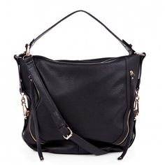 Too cute!! Women's Black Vegan Leather Side Zip Hobo | Amerie by Sole Society
