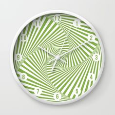 Green Twista Wall Clock by fimbis White Wall Clocks, Clock Wall, Wood Clocks, Stripes, Wall Decor, Interiors, Interior Design, Abstract, Stylish