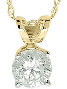 Diamond Studs Forever 14K Yellow Gold Solitaire Diamond Pendant (1/4 Ct tw, IGI USA Certified IJ/I2) ❤ Diamond Studs Forever