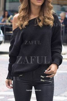 Skew Neck Long Sleeve Black Sweater BLACK: Sweaters | ZAFUL