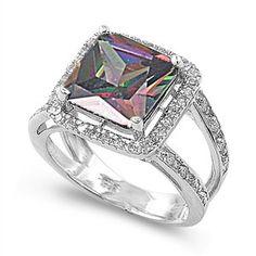 Sterling Silver Mystic Rainbow Topaz Big Halo Ring