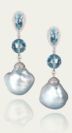 Tamsen Z by Ann Ziff - Blue Baroque Pearl & Aquamarine Earrings
