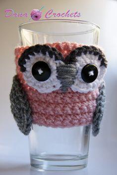 Owl Coffee Cup Cozy by Dana Crochets by DanaMarieCrochets on Etsy, $13.50