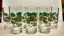 8 CHRISTMAS HOLIDAY BARTLETT COLLINS 12 OZ GLASSES TUMBLER HOLLY BERRIES