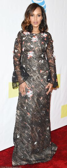 Leading the pack: Kerry Washington shimmered as she arrived at the 48th annual NAACP Image...
