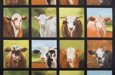 Nature Cow Block Panel 24in Repeat By Wollenberg, Cheri  - 15yds, 100% Cotton, 44in