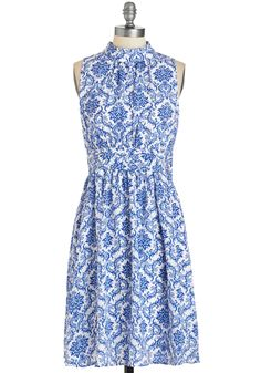Windy City Dress in Delft. Cause a chic scene down the Magnificent Mile in this blue-and-white frock - a ModCloth exclusive!  #modcloth