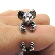 3D Koala Bear Wrapped Around Your Finger Shaped Animal Ring in Shiny Silver | US Size 4 to 8.5