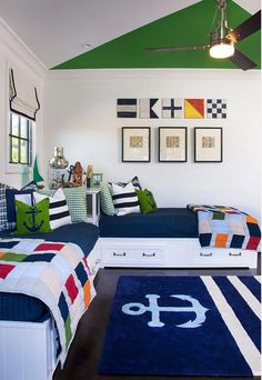 Get inspired by Coastal Kids' Bedroom Design photo by AGK Design Studio. Wayfair lets you find the designer products in the photo and get ideas from thousands of other Coastal Kids' Bedroom Design photos. Room Design, Shared Bedroom, Home, Bedroom Themes, Bedroom Design, Kids Bedroom Design, Room Decor, Boys Bedrooms, Coastal Bedrooms