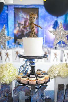 """Groot Cake from a """"Guardians of the Galaxy"""" Birthday Party on Kara's Party Ideas 