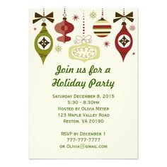 Christmas Holiday Ornaments Party Invitations