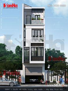 Thiết kế nhà ống 4 tầng sân thượng có mái che - NOD 0090 3 Storey House Design, Bungalow House Design, House Front Design, Small House Design, Modern House Design, Narrow House Designs, Narrow House Plans, Modern Bungalow House, Home Building Design