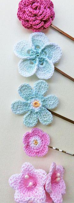 Pink & Aqua, Crochet flower hair pins. Flower girl hairclips.