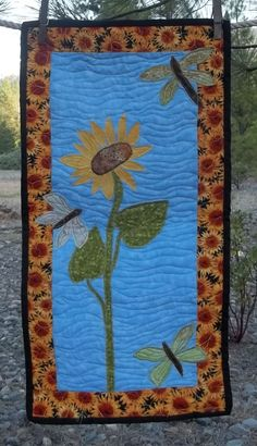 Sunflower And Dragonfly Quilted Wall Hanging