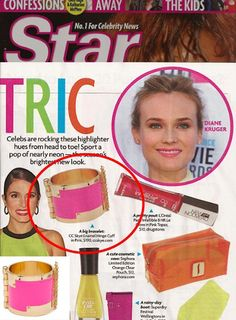 (Feb 27, 2012)  Star Magazine: Celebs are rocking neon hues from head to toe! Sport a pop of neon in this season's new look with the CC Skye Enamel Hinge Cuff!