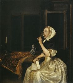 Gerard ter Borch - Vrouw drinkt wijn met brief in haar hand