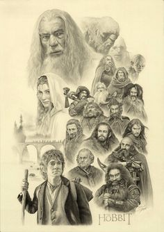 """My traditional work, If you are a big fan of the Lord of the Rings , you'll enjoy this new movie """"The hobbit (An Unexpected Journey)"""". THE HOBBIT (whole vision) Art Hobbit, Le Hobbit Thorin, Legolas, Gandalf, Thranduil, Jrr Tolkien, Tolkien Books, Fili Und Kili, Hobbit An Unexpected Journey"""