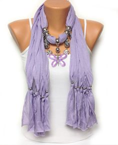 Lavender  jewelry scarf with very pretty butterfly pendant