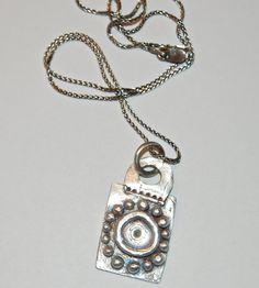 Silver Charm Necklace sun pendant yoga jewelry fine silver ecofriendly rustic SURYA on Etsy, $68.00