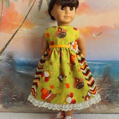 American Girl Dress Doll Clothes Autumn Fall by sewgrandmacathy