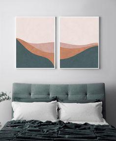 T of 2 prints. Diy Canvas Art, Diy Wall Art, Wall Art Sets, Simple Wall Art, Orange Art, Orange Blush, Blush Pink, Bedroom Prints, Wall Art Bedroom