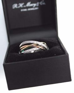 EFFY Trio Diamond Crossover Ring 3/8 ct. 14k White Gold and Rose Gold Size 7 #Effy #Crossover
