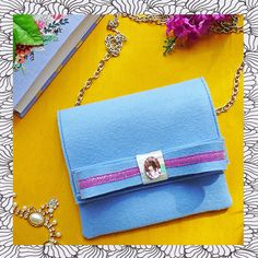 Light Blue Wool Clutch Purse with Bow on Chains for by TOOCHEme