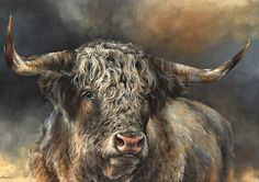 """""""Grand Kyloe Bull"""" scanned image painting by Dina Perejogina (commission sold) prints available through my website. Highland Cow Art, Highland Cattle, Image Painting, Pastel Drawing, Classical Art, Artist Gallery, Animal Paintings, Farm Animals, Insta Art"""